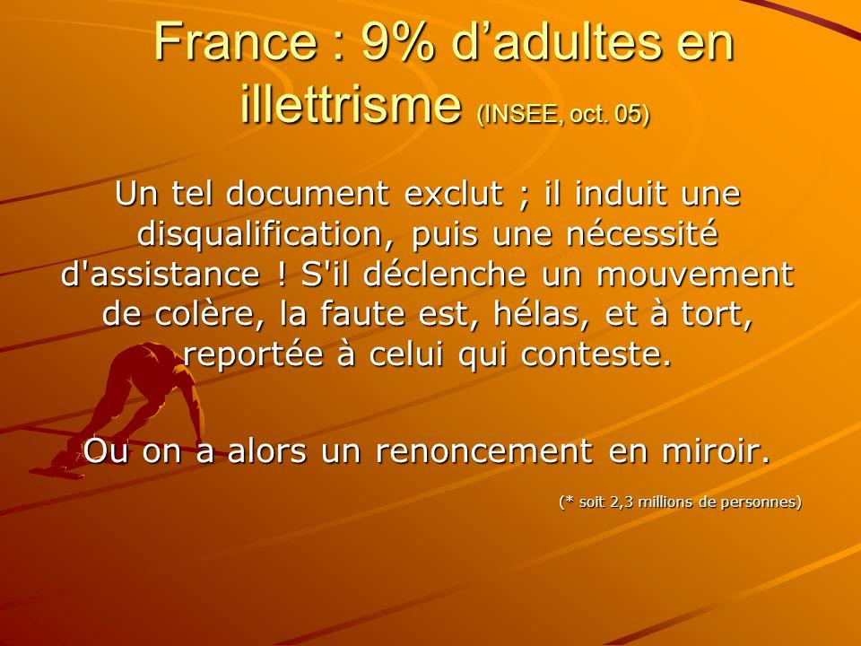 France : 9% d'adultes en illettrisme (INSEE, oct. 05) Un tel document exclut ; il induit une disqualification, puis une nécessité d'assistance ! S'il