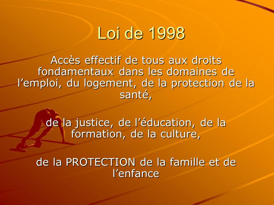 Loi de 1998 Accès effectif de tous aux droits fondamentaux dans les domaines de l'emploi, du logement, de la protection de la santé, de la justice, de