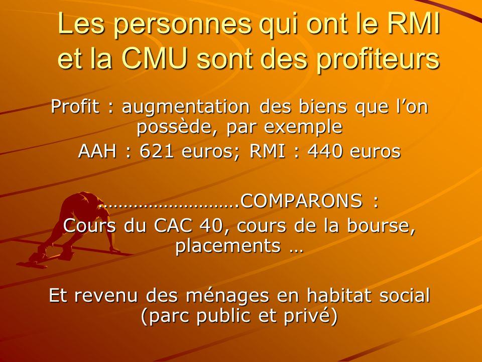 Les personnes qui ont le RMI et la CMU sont des profiteurs Profit : augmentation des biens que l'on possède, par exemple AAH : 621 euros; RMI : 440 eu