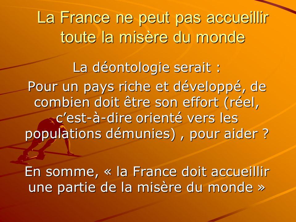 La France ne peut pas accueillir toute la misère du monde La déontologie serait : Pour un pays riche et développé, de combien doit être son effort (ré
