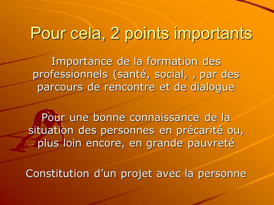 Pour cela, 2 points importants Importance de la formation des professionnels (santé, social,, par des parcours de rencontre et de dialogue Pour une bo