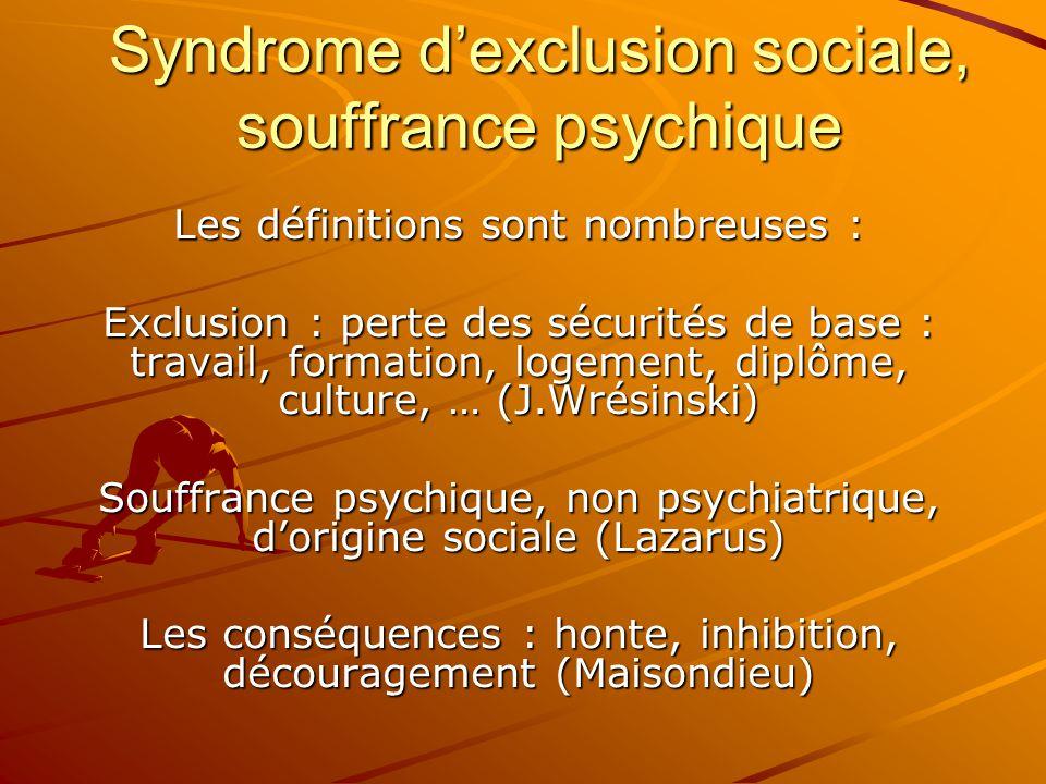 Syndrome d'exclusion sociale, souffrance psychique Les définitions sont nombreuses : Exclusion : perte des sécurités de base : travail, formation, log