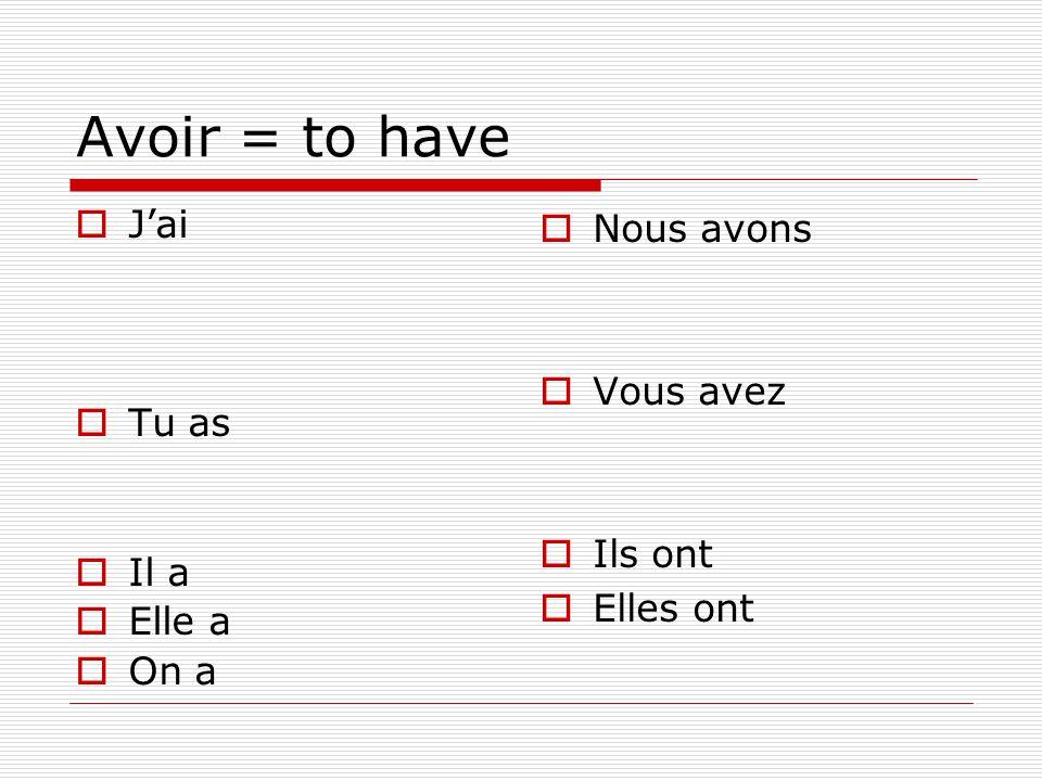 Negation  To make any verb negative…  Ne….verb…pas