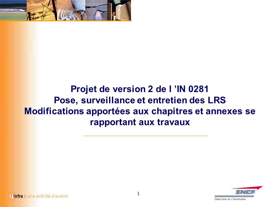 11 l'Infra / une activité d'avenir Projet de version 2 de l 'IN 0281 Pose, surveillance et entretien des LRS Modifications apportées aux chapitres et