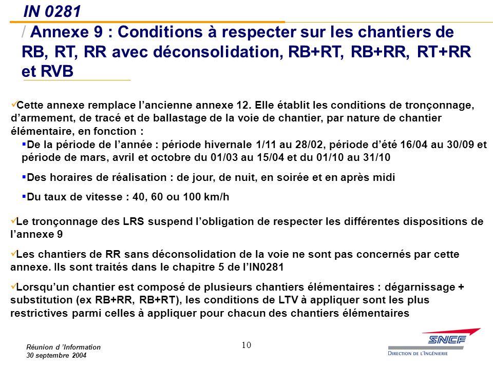 10 IN 0281 / Annexe 9 : Conditions à respecter sur les chantiers de RB, RT, RR avec déconsolidation, RB+RT, RB+RR, RT+RR et RVB Réunion d 'Information