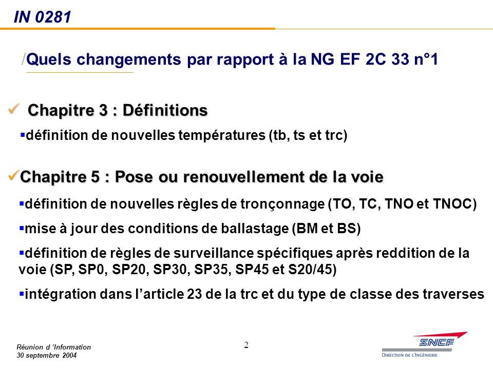 22 /Quels changements par rapport à la NG EF 2C 33 n°1 Chapitre 3 : Définitions Chapitre 3 : Définitions IN 0281 Réunion d 'Information 30 septembre 2