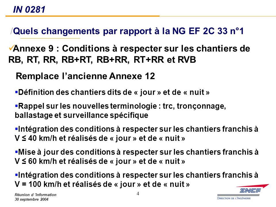 4 Réunion d 'Information 30 septembre 2004 /Quels changements par rapport à la NG EF 2C 33 n°1 IN 0281 Annexe 9 : Conditions à respecter sur les chant