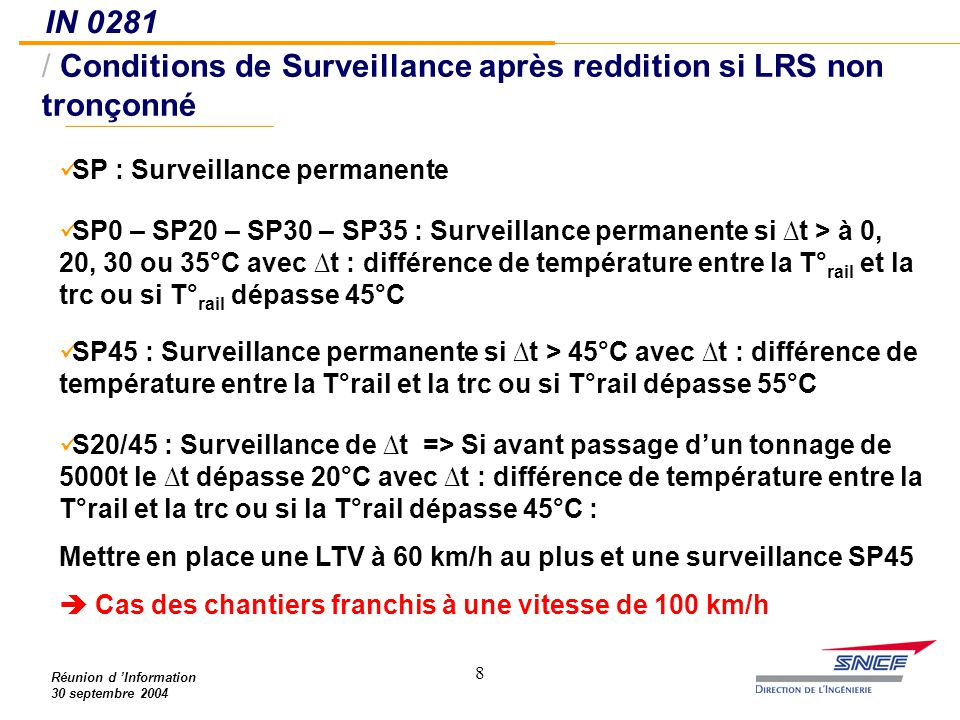 88 IN 0281 / Conditions de Surveillance après reddition si LRS non tronçonné Réunion d 'Information 30 septembre 2004 SP : Surveillance permanente SP0