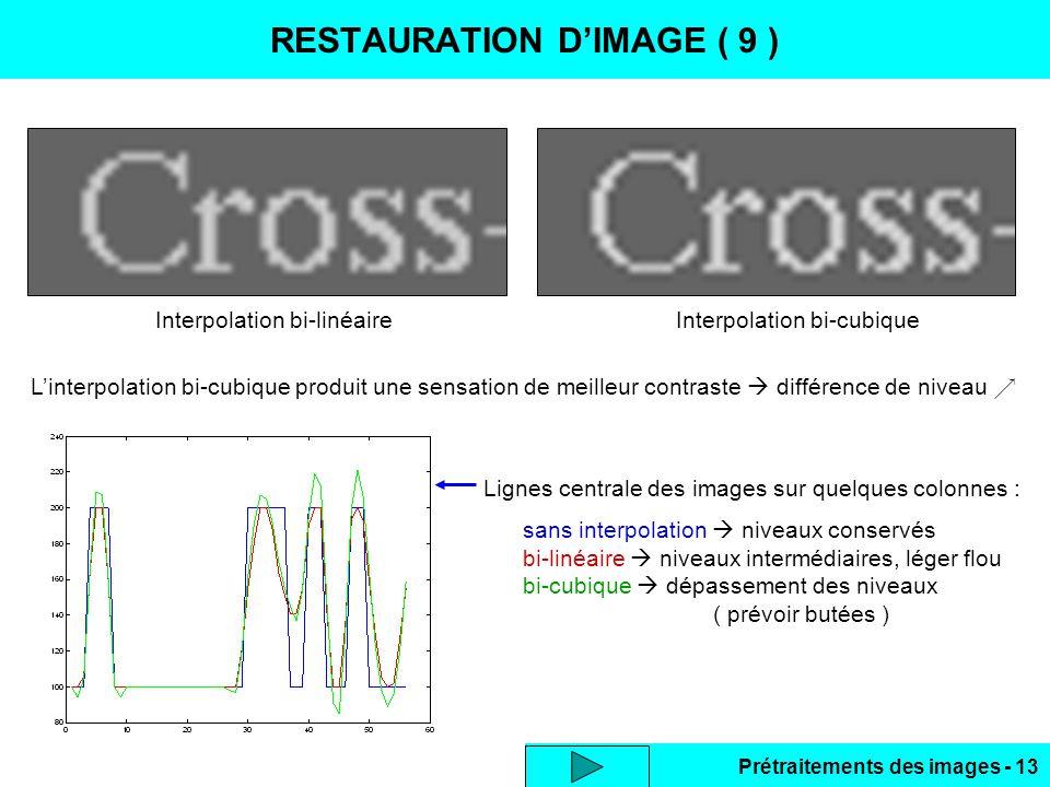 Prétraitements des images - 13 RESTAURATION D'IMAGE ( 9 ) L'interpolation bi-cubique produit une sensation de meilleur contraste  différence de niveau  Lignes centrale des images sur quelques colonnes : sans interpolation  niveaux conservés bi-linéaire  niveaux intermédiaires, léger flou bi-cubique  dépassement des niveaux ( prévoir butées ) Interpolation bi-linéaireInterpolation bi-cubique