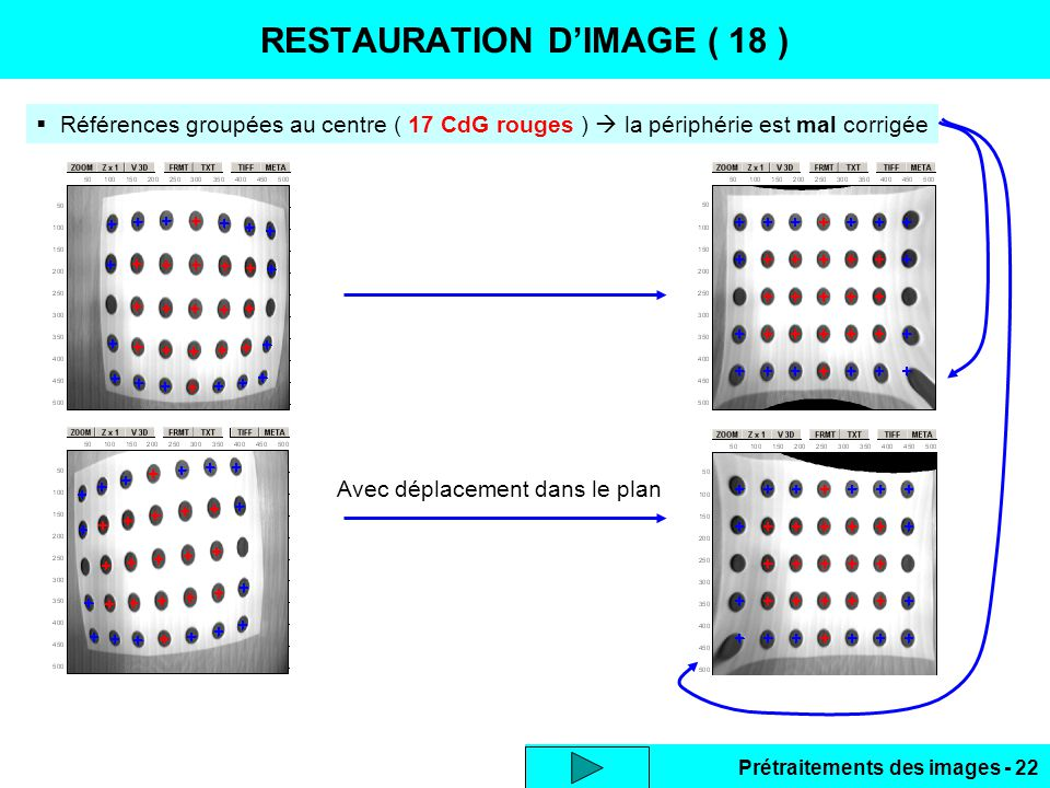 Prétraitements des images - 22 RESTAURATION D'IMAGE ( 18 )  Références groupées au centre ( 17 CdG rouges )  la périphérie est mal corrigée Avec déplacement dans le plan