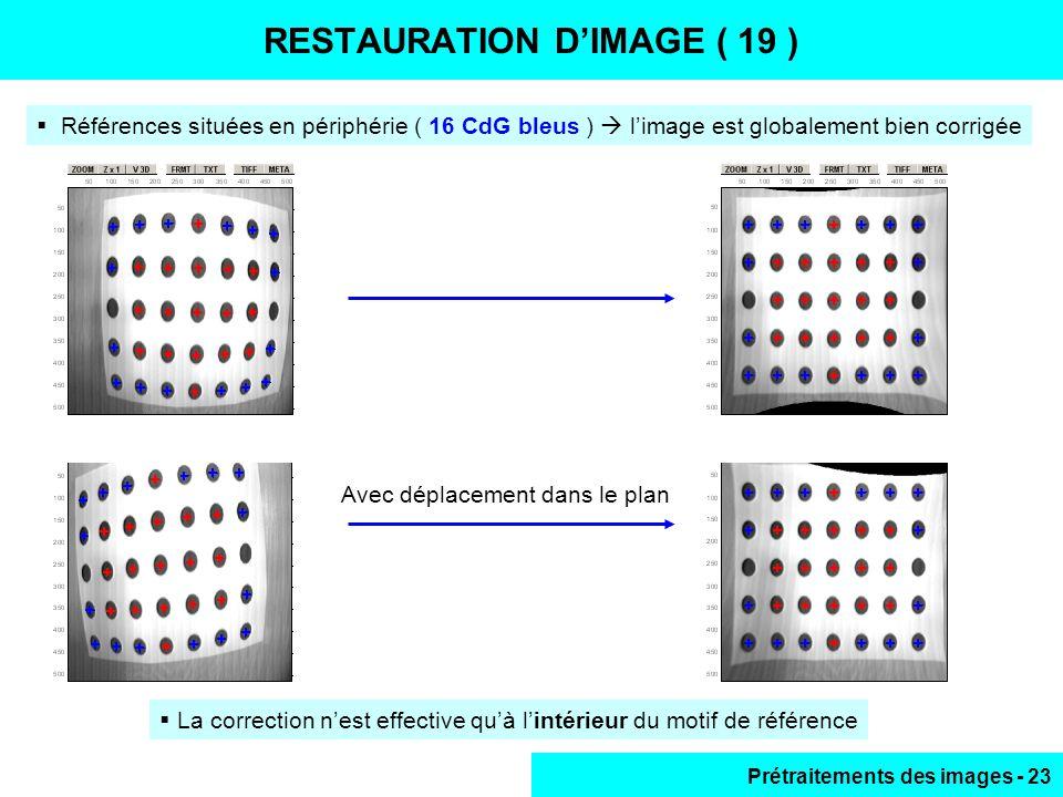 Prétraitements des images - 23  La correction n'est effective qu'à l'intérieur du motif de référence RESTAURATION D'IMAGE ( 19 )  Références situées en périphérie ( 16 CdG bleus )  l'image est globalement bien corrigée Avec déplacement dans le plan