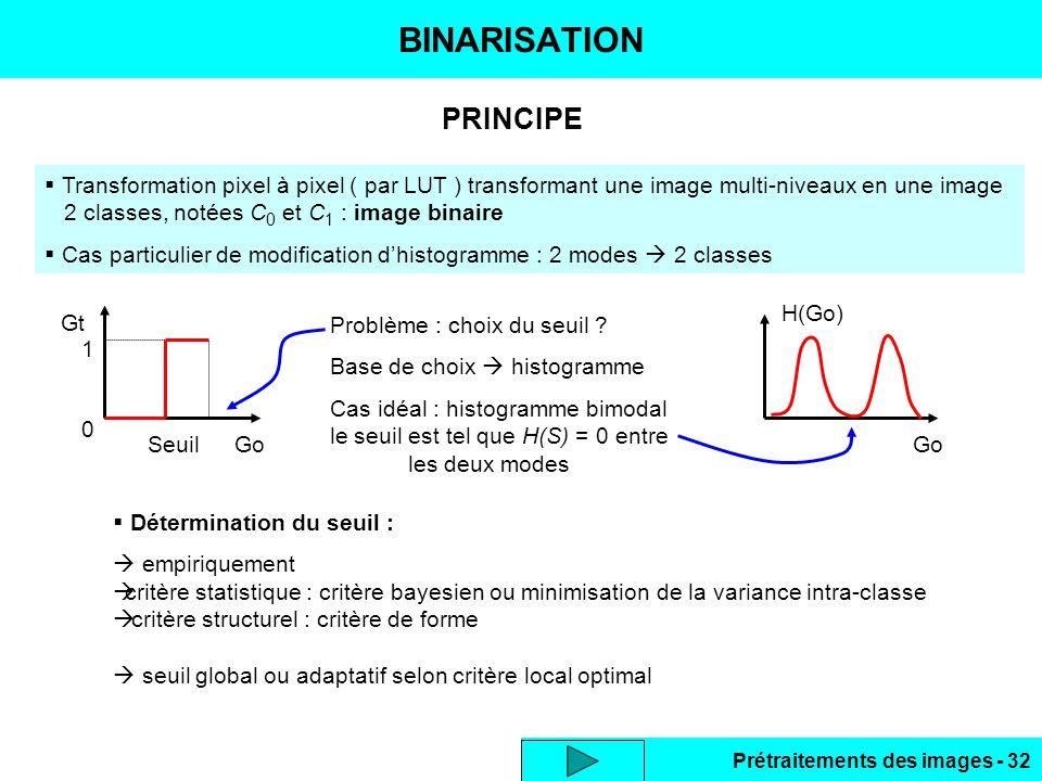 Prétraitements des images - 32 PRINCIPE BINARISATION  Transformation pixel à pixel ( par LUT ) transformant une image multi-niveaux en une image 2 classes, notées C 0 et C 1 : image binaire  Cas particulier de modification d'histogramme : 2 modes  2 classes Gt GoSeuil 0 1 Problème : choix du seuil .