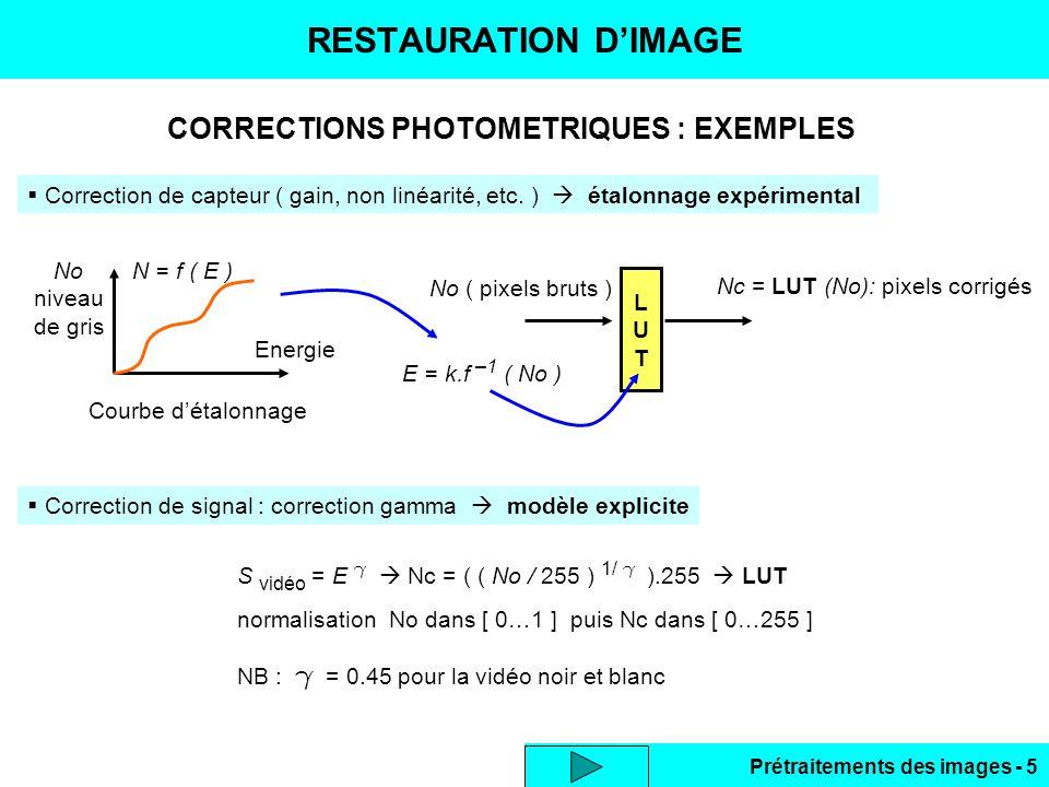 Prétraitements des images - 6 RESTAURATION D'IMAGE ( 2 )  Correction d'uniformité d'éclairement  image de référence Image d'origine : I1 objet sur fond clair Image de référence : Io (fond)Image I1 – Io + max(Io)  Correction d'éclairement : scène et source fixes, variation de l'éclairement  modèle physique En tout point Lo(x,y) =  (x,y).Eo(x,y) si E = Eo +  E  L = .E = .Eo + .