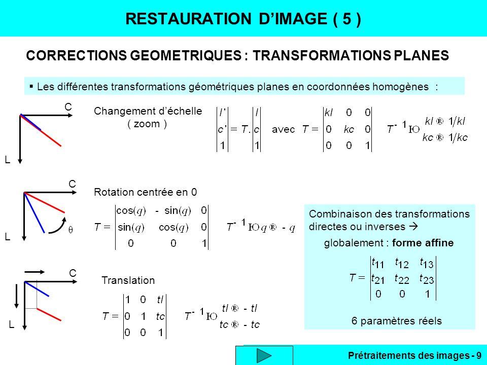 Prétraitements des images - 30 AJUSTEMENT DE 2 HISTOGRAMMES MODIFICATION D'HISTOGRAMME ( 6 ) Eclairages différents d'une même scène  histogrammes différents Modification d'un histogramme pour l'ajuster à l'autre  images comparables  Algorithme : Calculer les histogrammes cumulés de référence HCref et cible HCcible ( à modifier ) Pour G dans [0…255] calculer Go tel que : | HCref (Go) – HCcible (G) | = 0 par interpolation linéaire LUT (G) = Go  Code Matlab : for G=256:-1:2, Href(G)=sum( Href(1:G) ); Hcible(G)=sum( Hcible(1:G) ); end Href=[-1.0e+38;Href;1.0e+38] ; % butees pour calcul for G=1:256, Tst=Href-Hcible(G); Neg=find(Tst < 0); Gn=Neg(end); % dernier < 0 Pos=find(Tst > 0); Gp=Pos(1); % premier > 0 Lut(G)=( Tst(Gp)*Gn-Tst(Gn)*Gp ) / ( Tst(Gp)-Tst(Gn) ) ; end Lut=round( Lut )-2;