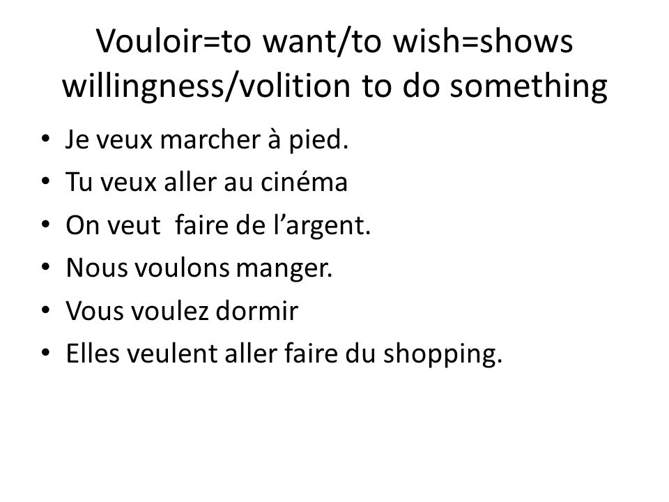 Vouloir=to want/to wish=shows willingness/volition to do something Je veux marcher à pied.