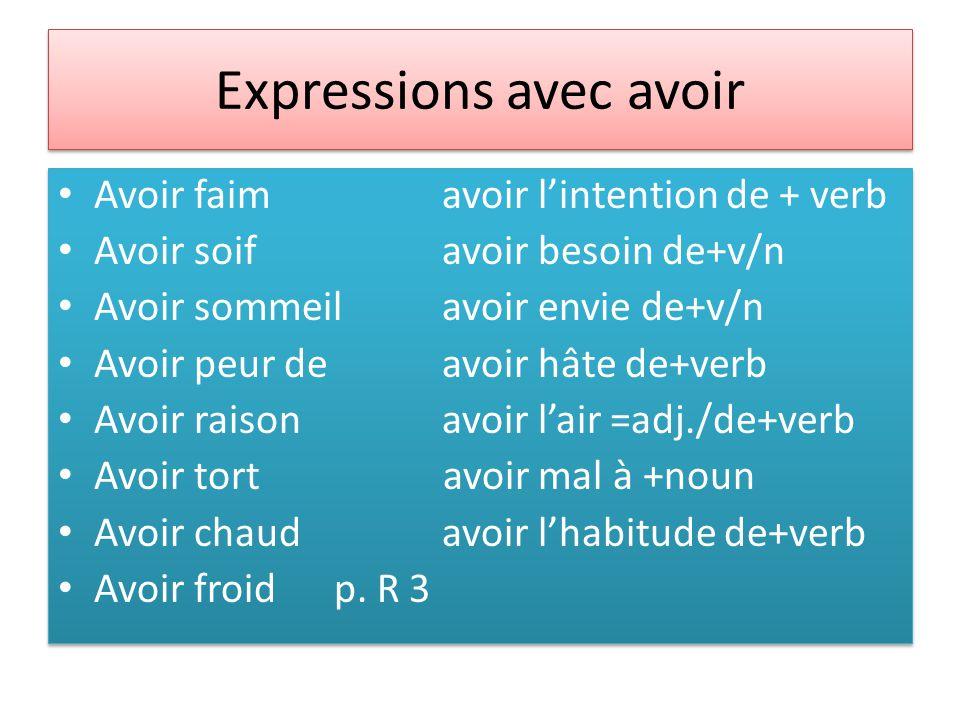 Expressions avec avoir Avoir faimavoir l'intention de + verb Avoir soifavoir besoin de+v/n Avoir sommeilavoir envie de+v/n Avoir peur deavoir hâte de+