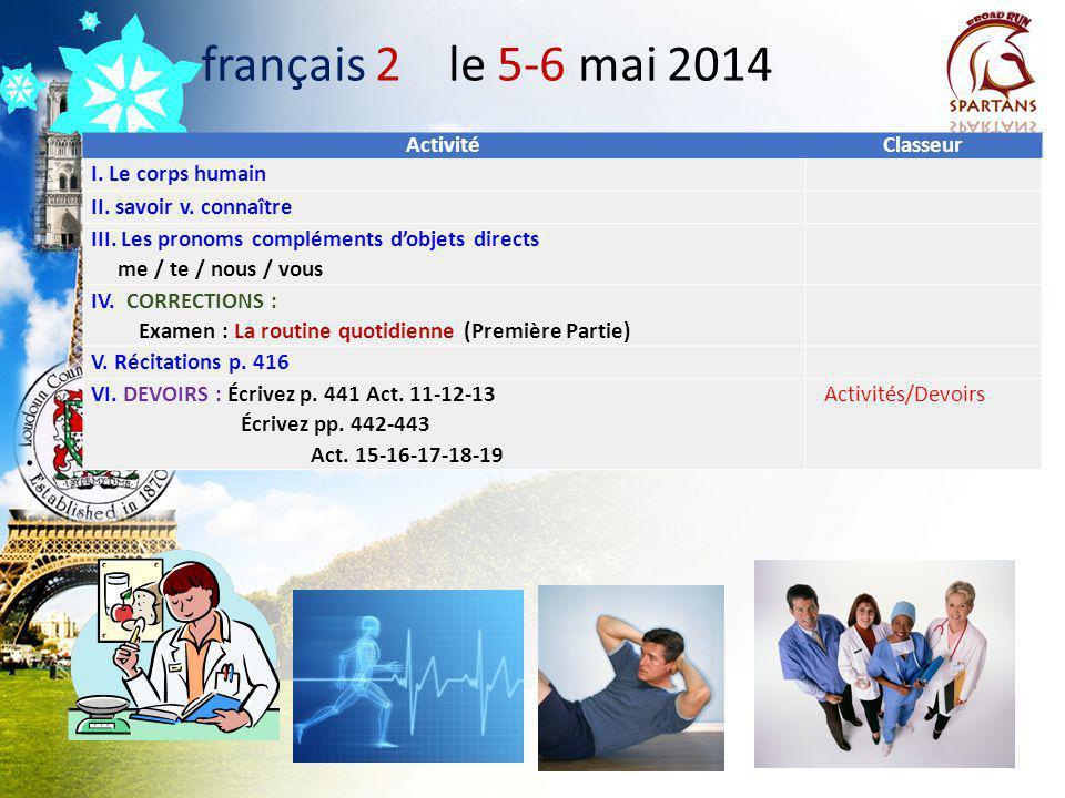 Des annonces à noter! A. Twitter: @drdinicolaparle B. Study Buddies: Restez en contact avec le vôtre! Quand est-ce que vous réunissez? français 2-3-AP