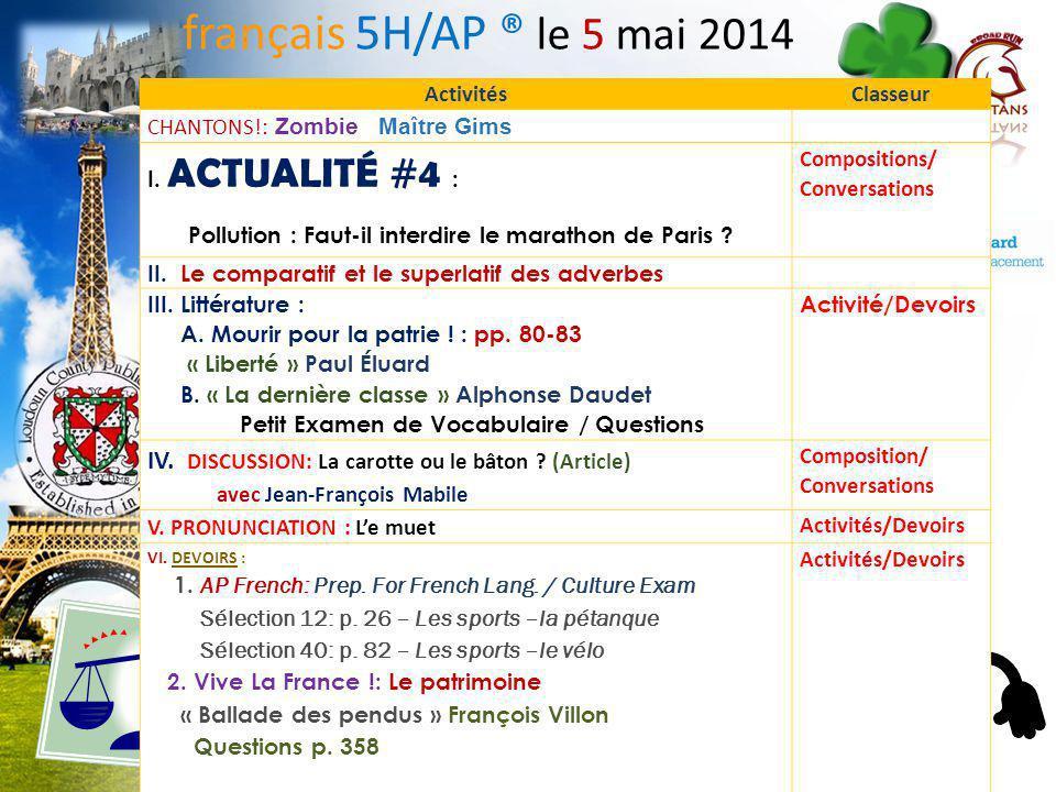 La dernière classe I. Petit Examen de Vocabulaire II. Questions ensemble! français 5H/6AP 1.Franz est le narrateur. 2.Il fait trop beau dehors pour y