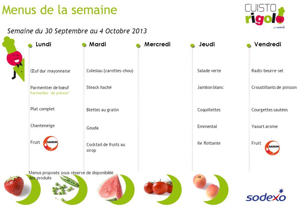 LundiMardiMercrediJeudiVendredi Menus proposés sous réserve de disponibilité des produits Coleslau (carottes-chou) Steack haché Blettes au gratin Goud