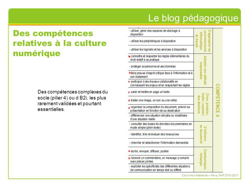 Le blog pédagogique Caroline d'Atabekian – Paris, PAF 2010-2011 Des compétences relatives à la culture numérique Des compétences complexes du socle (pilier 4) ou d B2i, les plus rarement validées et pourtant essentielles.