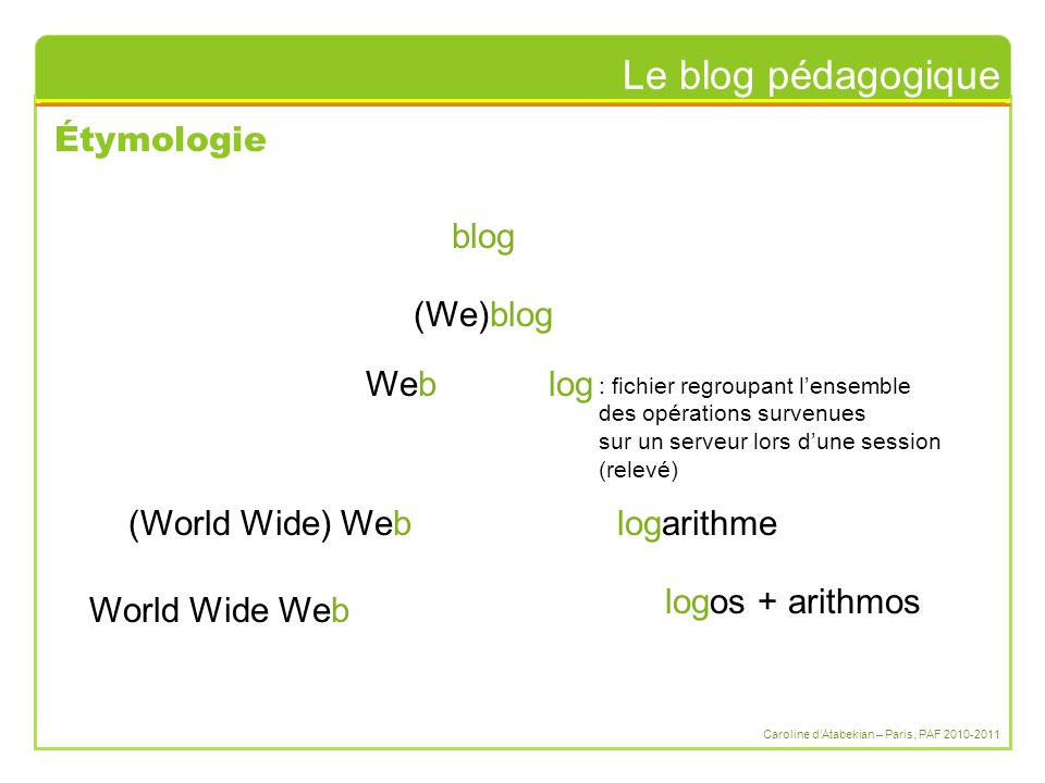 Le blog pédagogique Caroline d'Atabekian – Paris, PAF 2010-2011 Étymologie logos + arithmos logarithme(World Wide) Web log : fichier regroupant l'ensemble des opérations survenues sur un serveur lors d'une session (relevé) Web (We)blog World Wide Web blog