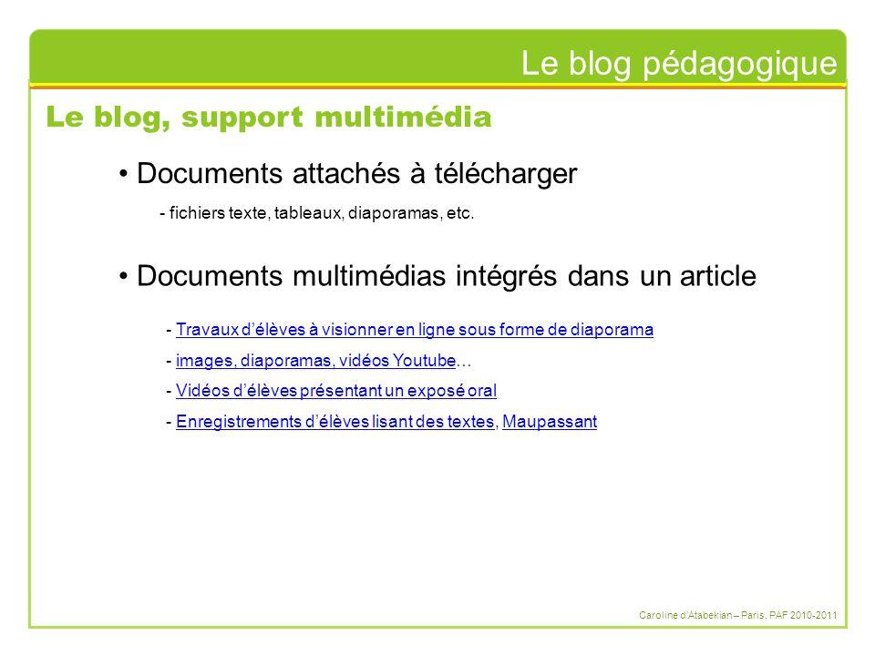 Le blog pédagogique Caroline d'Atabekian – Paris, PAF 2010-2011 Le blog, support multimédia - fichiers texte, tableaux, diaporamas, etc. Documents att