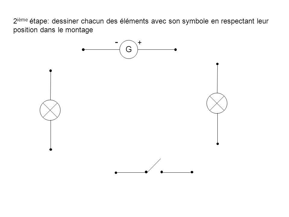 2 ième étape: dessiner chacun des éléments avec son symbole en respectant leur position dans le montage G - +