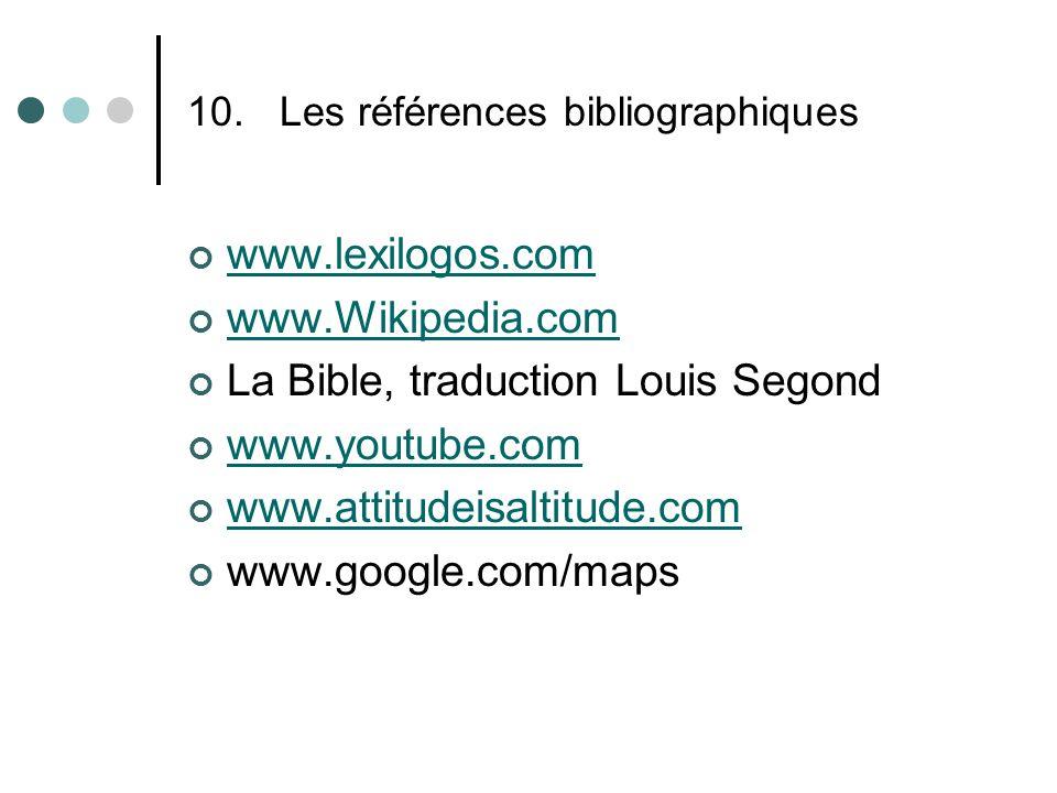 10.Les références bibliographiques www.lexilogos.com www.Wikipedia.com La Bible, traduction Louis Segond www.youtube.com www.attitudeisaltitude.com www.google.com/maps