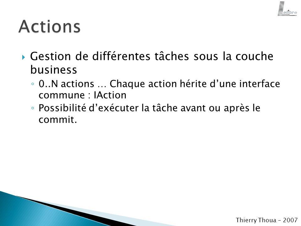  Gestion de différentes tâches sous la couche business ◦ 0..N actions … Chaque action hérite d'une interface commune : IAction ◦ Possibilité d'exécuter la tâche avant ou après le commit.