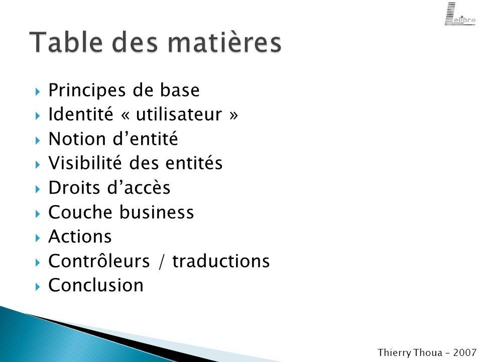  Principes de base  Identité « utilisateur »  Notion d'entité  Visibilité des entités  Droits d'accès  Couche business  Actions  Contrôleurs / traductions  Conclusion Thierry Thoua - 2007