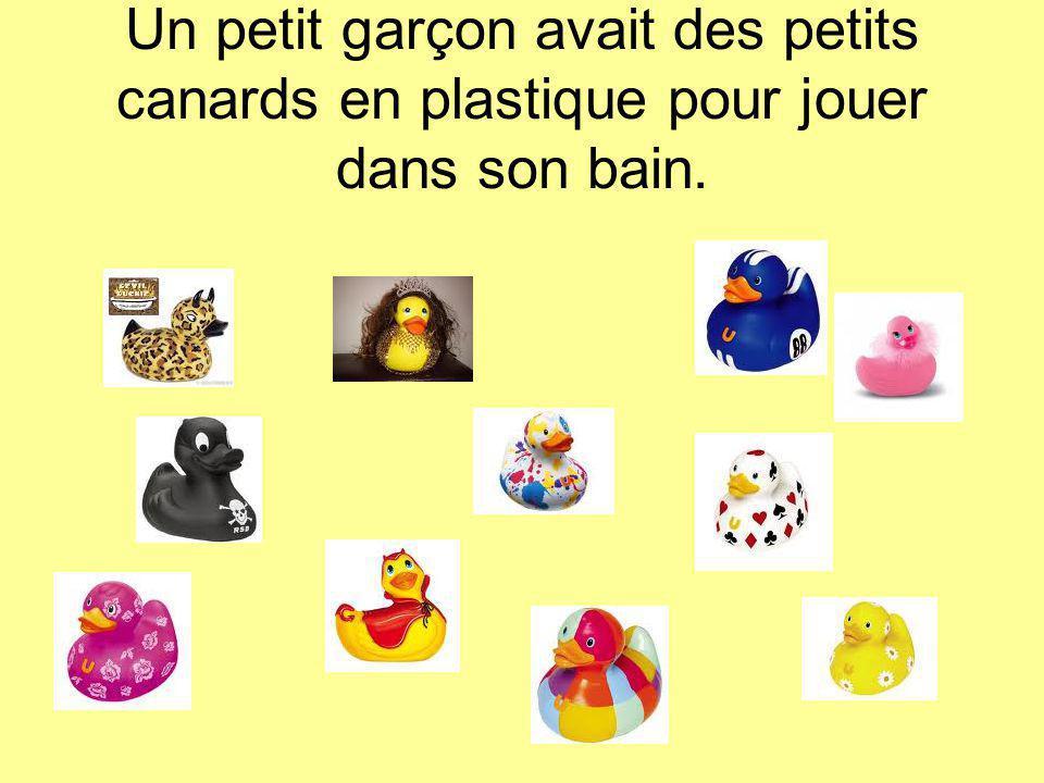 Un petit garçon avait des petits canards en plastique pour jouer dans son bain.