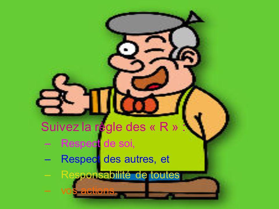 Suivez la règle des « R » : –Respect de soi, –Respect des autres, et –Responsabilité de toutes –vos actions.