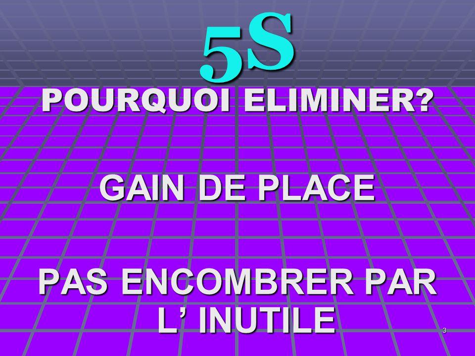 3 5S 5S POURQUOI ELIMINER? GAIN DE PLACE PAS ENCOMBRER PAR L' INUTILE