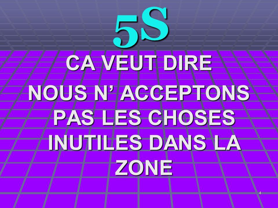 4 5S 5S CA VEUT DIRE NOUS N' ACCEPTONS PAS LES CHOSES INUTILES DANS LA ZONE