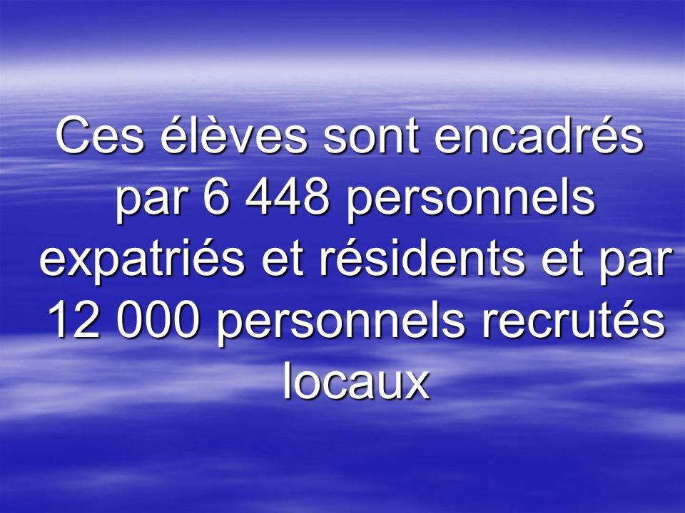 Ces élèves sont encadrés par 6 448 personnels expatriés et résidents et par 12 000 personnels recrutés locaux Ces élèves sont encadrés par 6 448 personnels expatriés et résidents et par 12 000 personnels recrutés locaux