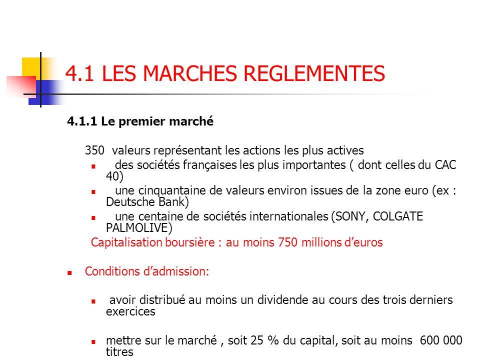 4.1 LES MARCHES REGLEMENTES 4.1.1 Le premier marché 350 valeurs représentant les actions les plus actives des sociétés françaises les plus importantes