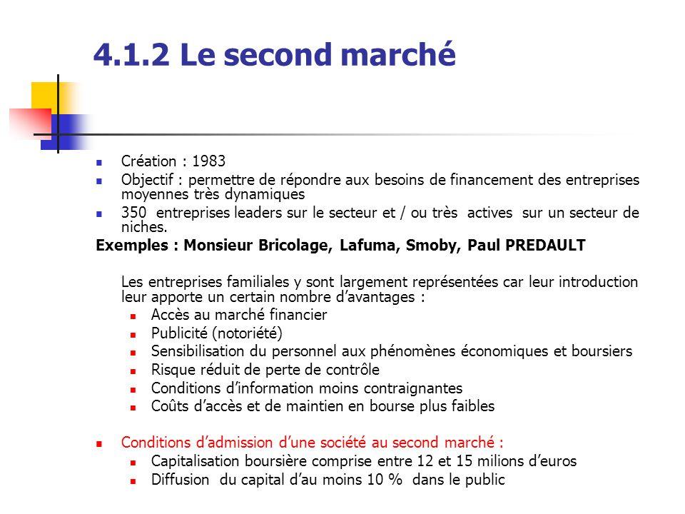 4.1.2 Le second marché Création : 1983 Objectif : permettre de répondre aux besoins de financement des entreprises moyennes très dynamiques 350 entrep