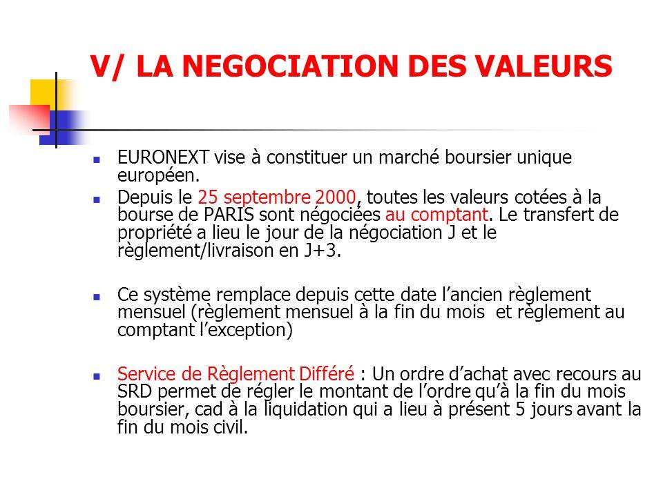 V/ LA NEGOCIATION DES VALEURS EURONEXT vise à constituer un marché boursier unique européen. Depuis le 25 septembre 2000, toutes les valeurs cotées à