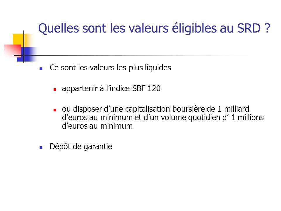 Quelles sont les valeurs éligibles au SRD ? Ce sont les valeurs les plus liquides appartenir à l'indice SBF 120 ou disposer d'une capitalisation bours