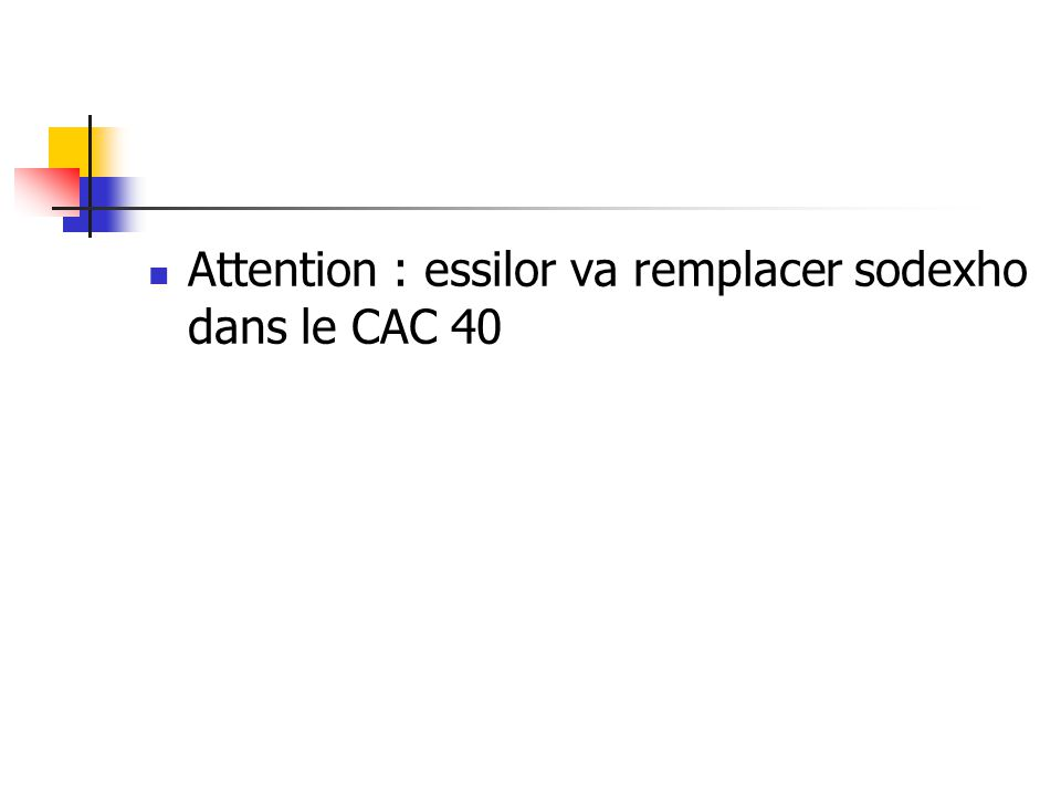 Attention : essilor va remplacer sodexho dans le CAC 40
