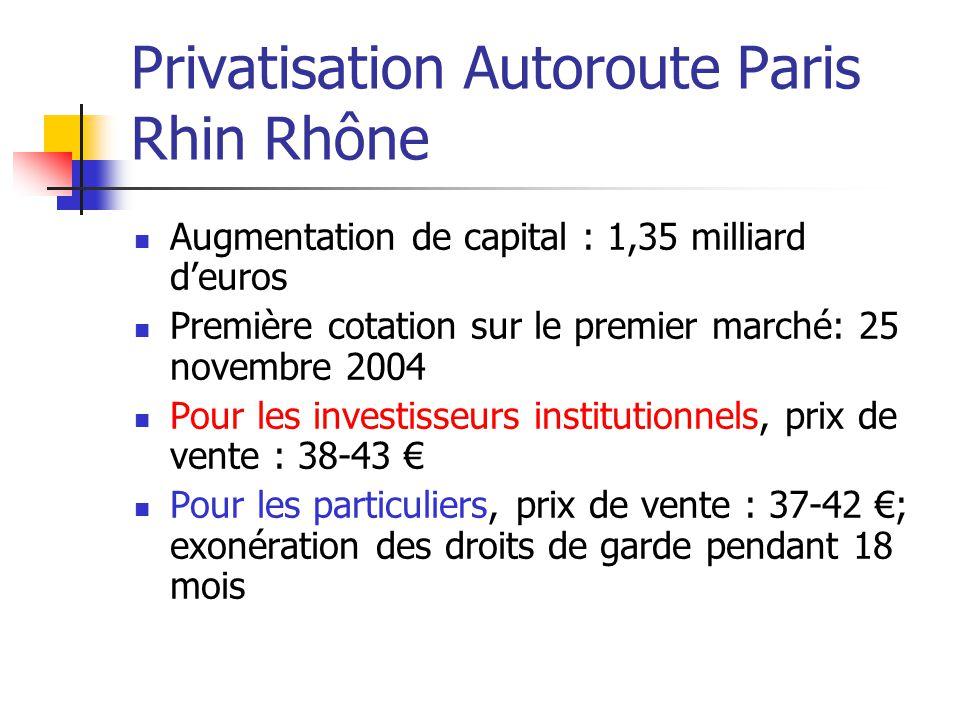 Privatisation Autoroute Paris Rhin Rhône Augmentation de capital : 1,35 milliard d'euros Première cotation sur le premier marché: 25 novembre 2004 Pou