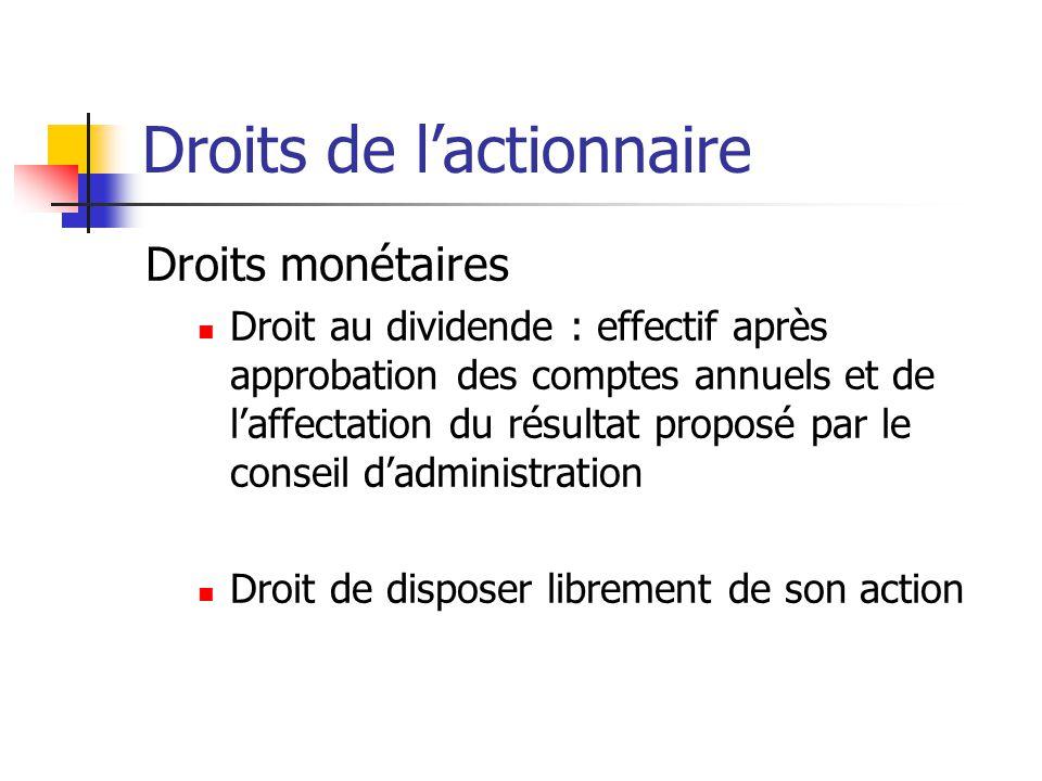 Droits de l'actionnaire Droits monétaires Droit au dividende : effectif après approbation des comptes annuels et de l'affectation du résultat proposé