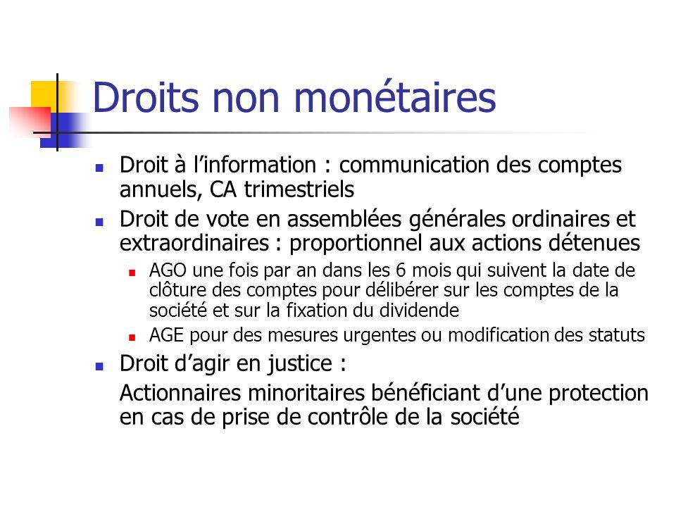 Droits non monétaires Droit à l'information : communication des comptes annuels, CA trimestriels Droit de vote en assemblées générales ordinaires et e