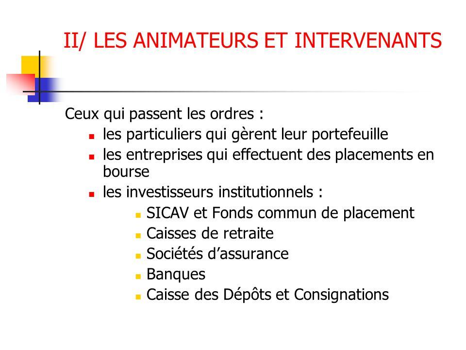 VI/ LES INDICES ET LEUR UTILITE 6.1 les indices francais CAC 40 C'est l'indice de référence de la bourse française ( CAC : cotation assistée en continu); Base : 1000 au 31/12/1987 (3 800) Mesure la variation de la capitalisation boursière globale (prix des titres multipliés par quantités de titres disponibles) des valeurs de l'échantillon à chaque instant par rapport à leur capitalisation boursière de base SBF 120 Il intègre les 120 valeurs françaises les plus actives toutes côtées en continu.