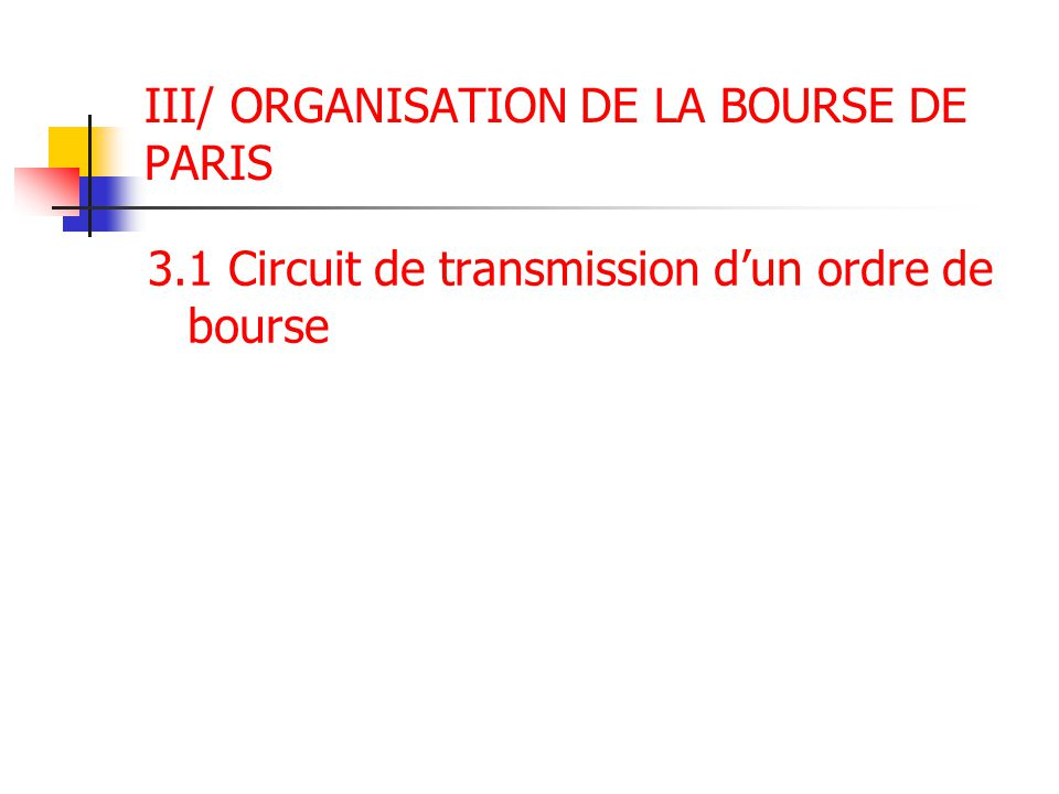 III/ ORGANISATION DE LA BOURSE DE PARIS 3.1 Circuit de transmission d'un ordre de bourse