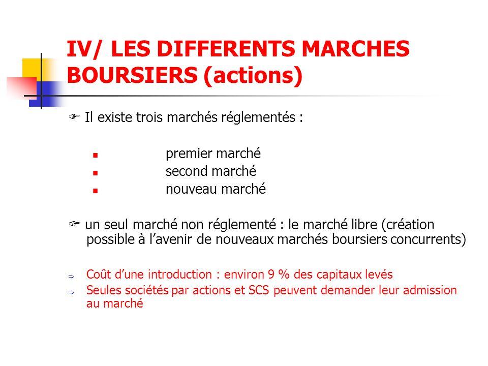 IV/ LES DIFFERENTS MARCHES BOURSIERS (actions)  Il existe trois marchés réglementés : premier marché second marché nouveau marché  un seul marché no