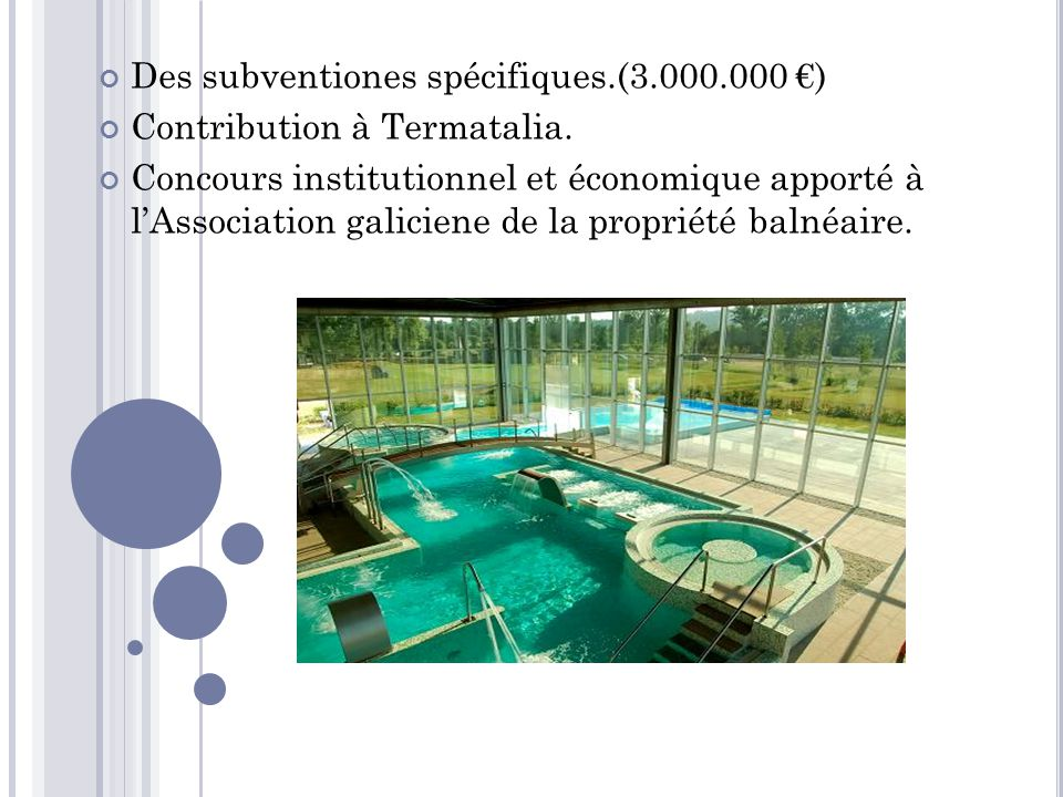 Des subventiones spécifiques.(3.000.000 €) Contribution à Termatalia.