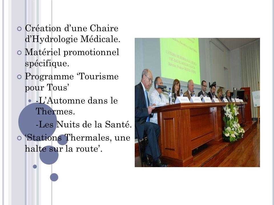 Création d'une Chaire d'Hydrologie Médicale.Matériel promotionnel spécifique.