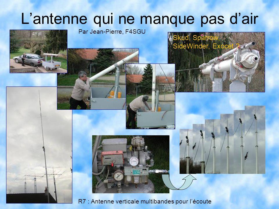 L'antenne qui ne manque pas d'air Par Jean-Pierre, F4SGU Skud, Sparrow, SideWinder, Exocet ? R7 : Antenne verticale multibandes pour l'écoute