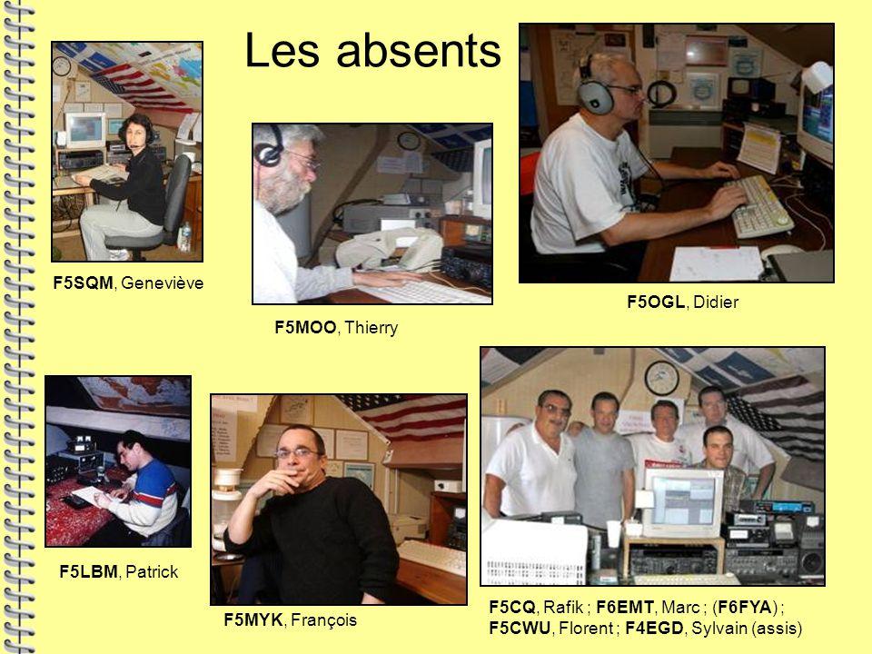 Les absents F5SQM, Geneviève F5CQ, Rafik ; F6EMT, Marc ; (F6FYA) ; F5CWU, Florent ; F4EGD, Sylvain (assis) F5MOO, Thierry F5OGL, Didier F5LBM, Patrick